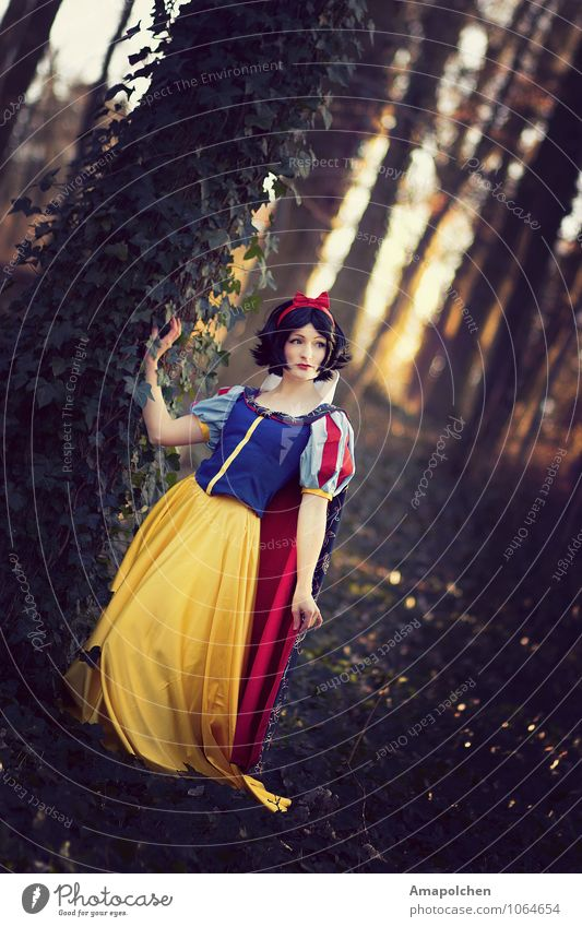 Youth (Young adults) Beautiful Young woman Forest Feminine Fashion Dream Infancy Historic Dress Past Carnival Film industry Fairy tale Black-haired Costume