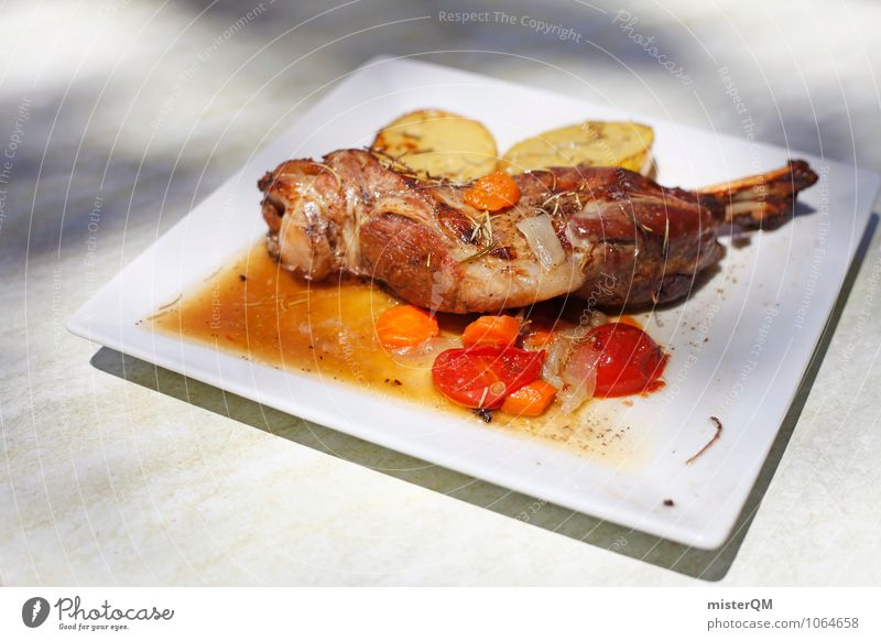 Spanish Food IV Art Esthetic Contentment Plate Cudgel Potatoes Delicious Lunch Meat Meat dishes Carnivore Colour photo Subdued colour Exterior shot Detail
