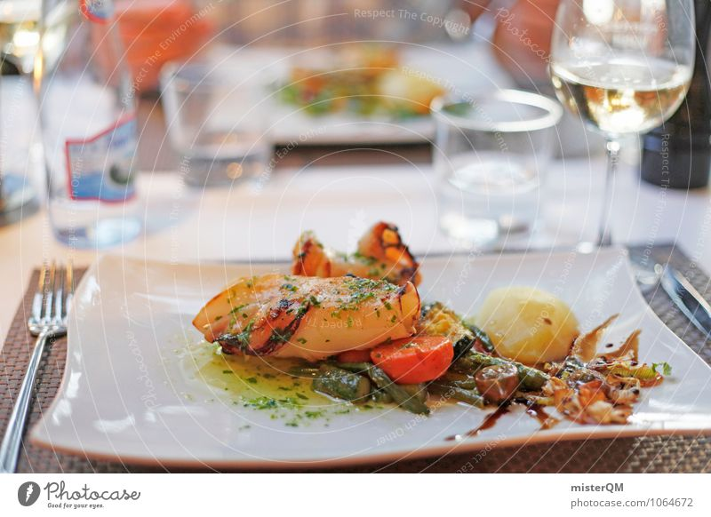 Healthy Eating Dish Art Food photograph Contentment Esthetic Fish Wine Delicious Mediterranean Majorca Restaurant Meal Seafood Squid