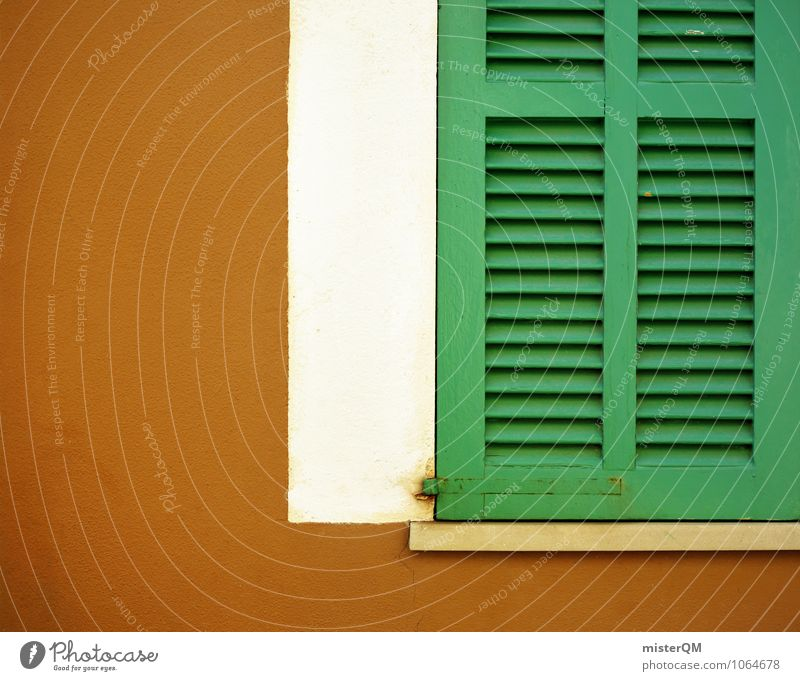Nice, too. Art Esthetic Shutter Window Window board View from a window Window frame Glazed facade Green Brown Colour photo Subdued colour Exterior shot Close-up