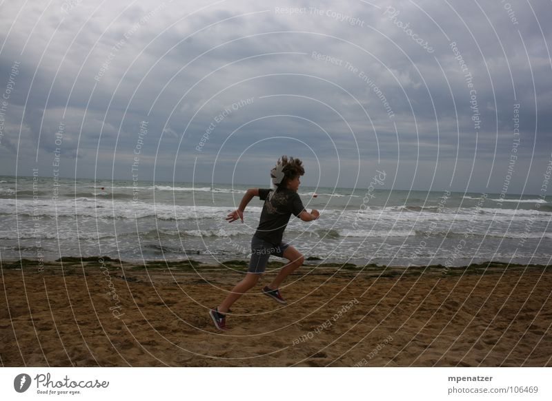 Water Ocean Joy Beach Vacation & Travel Clouds Jump Sand Walking