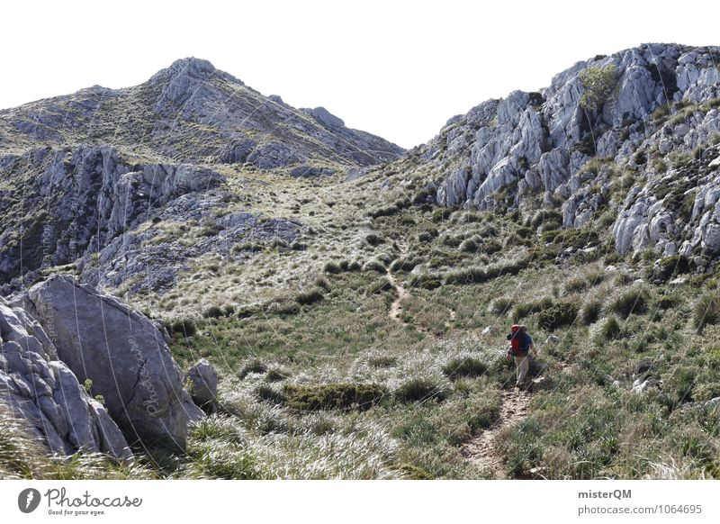 Mountain wind. Environment Nature Landscape Esthetic Contentment Hiking Loneliness Slope Mountain range Hilltop Mountain meadow Pioneer Majorca Spain Grass Rock