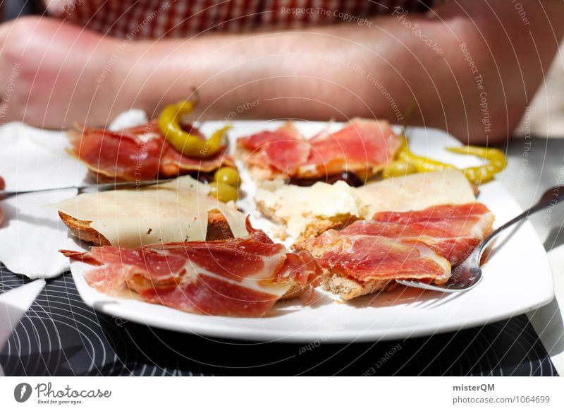 Spanish Food II Art Esthetic Contentment Food photograph Healthy Eating Dish Ham Strips of ham Delicious Lunch hour Midday sun Tapas Majorca Spain Snack Plate