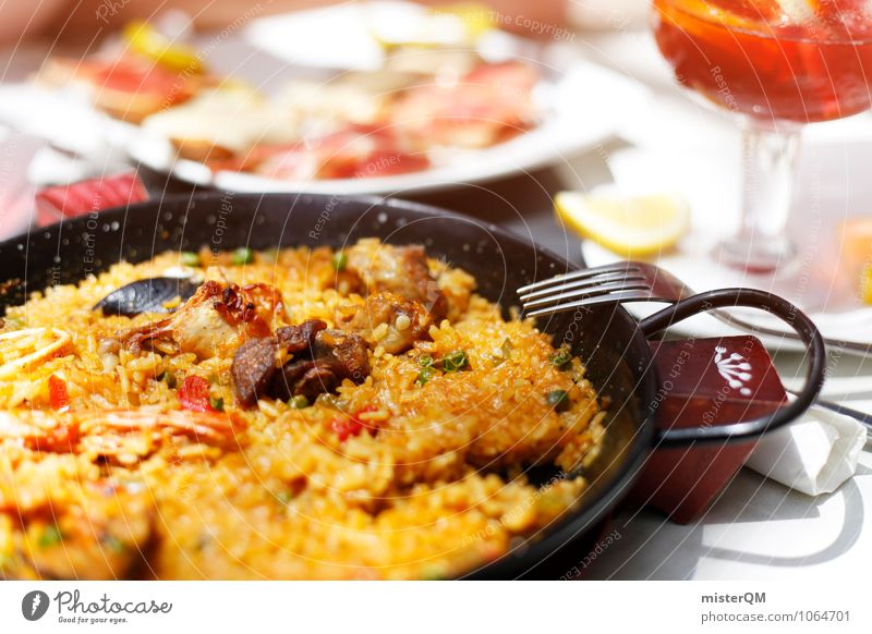Spanish Food III Meat Fish Seafood Vegetable Nutrition Lunch Slow food Esthetic paella Spain Majorca Delicious Pan Table Colour photo Subdued colour