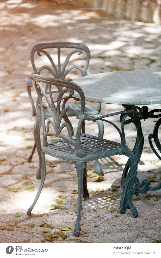 Sitting corner. Art Esthetic Contentment Table Tabletop Chair Lounges Seating Mediterranean Cozy Going Garden Dreamily Colour photo Subdued colour Exterior shot