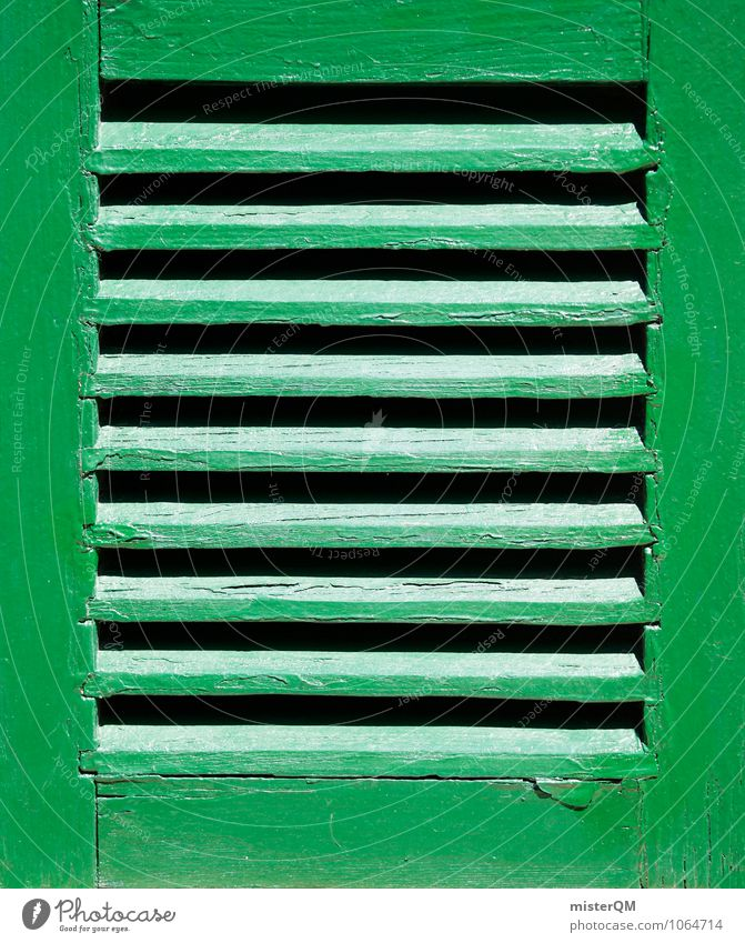Window green. Art Esthetic View from a window Window frame Glazed facade Pattern Green Symmetry Colour photo Subdued colour Exterior shot Close-up Detail