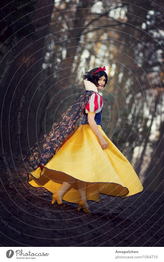 Woman Child Beautiful Forest Adults Dream Infancy Childhood memory Dress Carnival Apple Film industry Stage play Skirt Escape Fairy tale