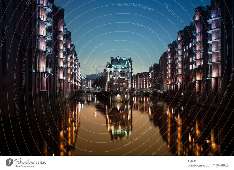 Sky Old Water House (Residential Structure) Architecture Building Exceptional Germany Facade Tourism Illuminate Fantastic Europe Industry Hamburg Historic