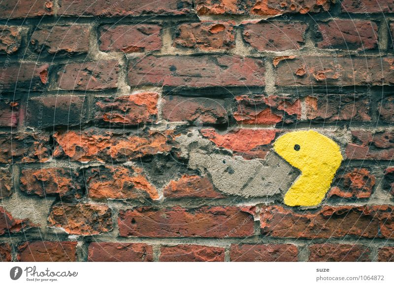 Old Yellow Wall (building) To talk Funny Background picture Wall (barrier) Playing Small Facade Authentic Nutrition Communicate Cute Broken Appetite