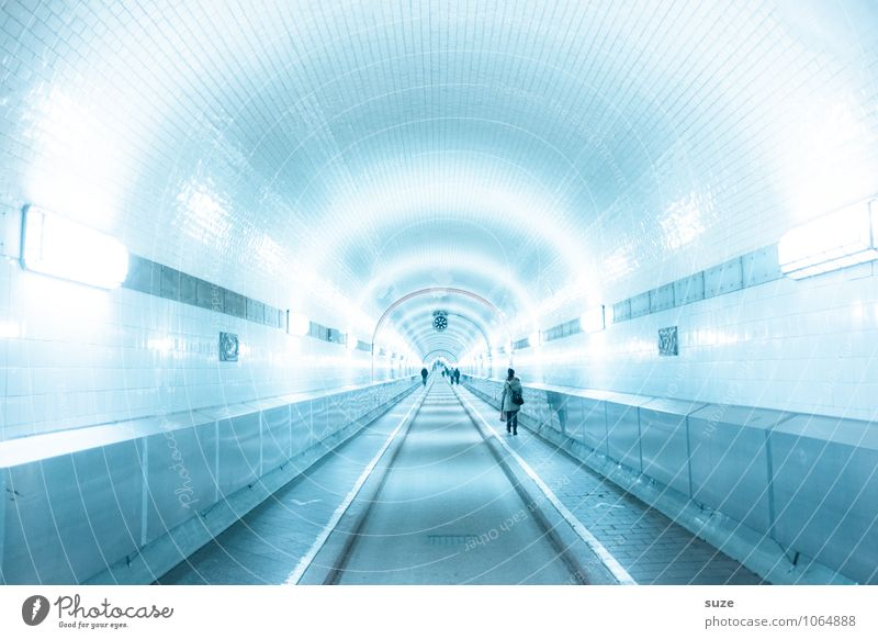 Blue Street Architecture Lanes & trails Germany Transport Perspective Beginning Future Europe Industry Hamburg Logistics Historic Target Manmade structures
