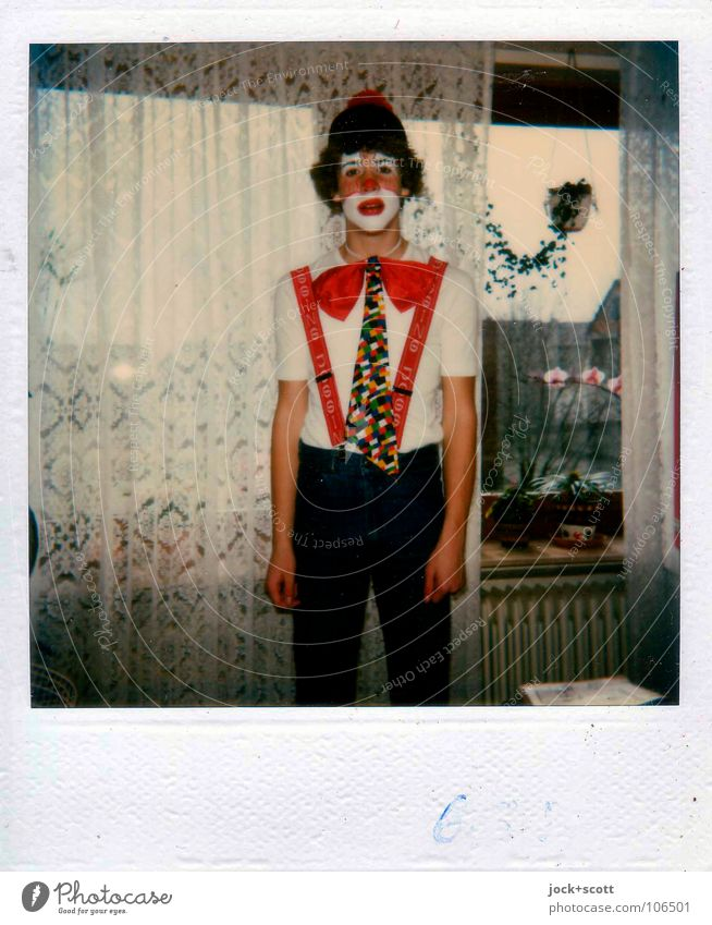 80s carnival costume as a clown Living or residing Living room Carnival 8 - 13 years Infancy Fly Mask Wig Feasts & Celebrations Funny Red Emotions Moody Shame