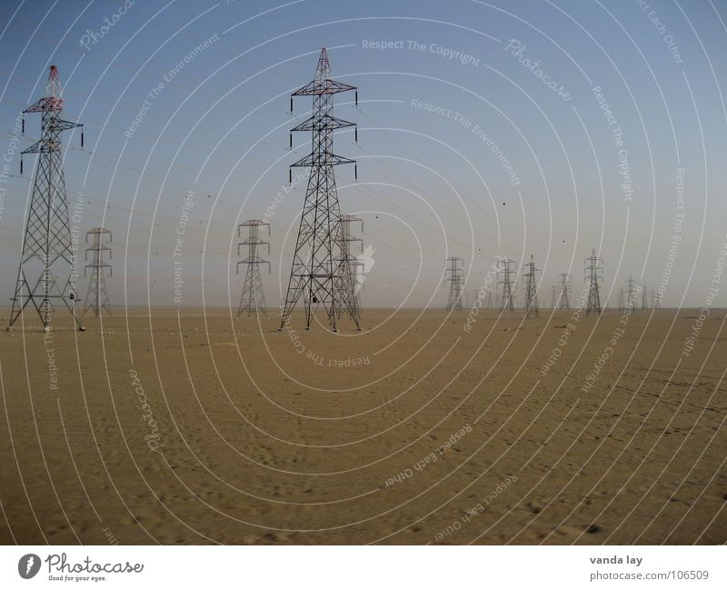 Sky Blue Loneliness Gray Sand Power Metal Environment Horizon Industry Energy industry Electricity Might Multiple Technology Cable