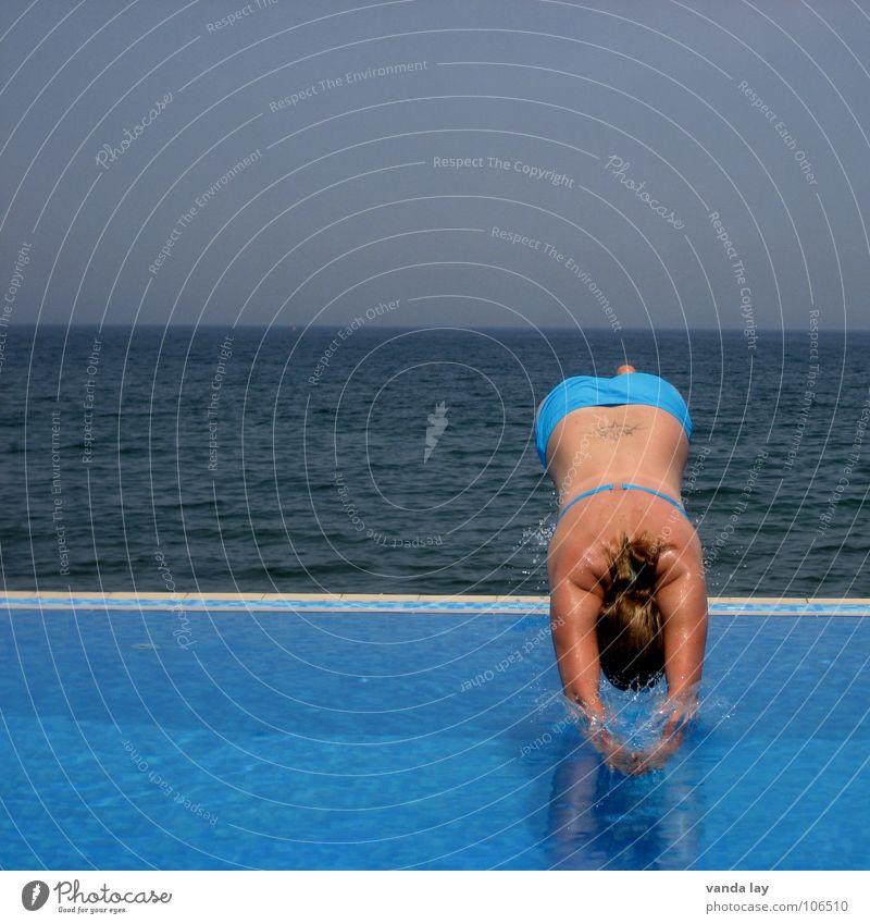 Woman Human being Sky Water Blue Beautiful Vacation & Travel Ocean Summer Joy Beach Sports Playing Jump Coast