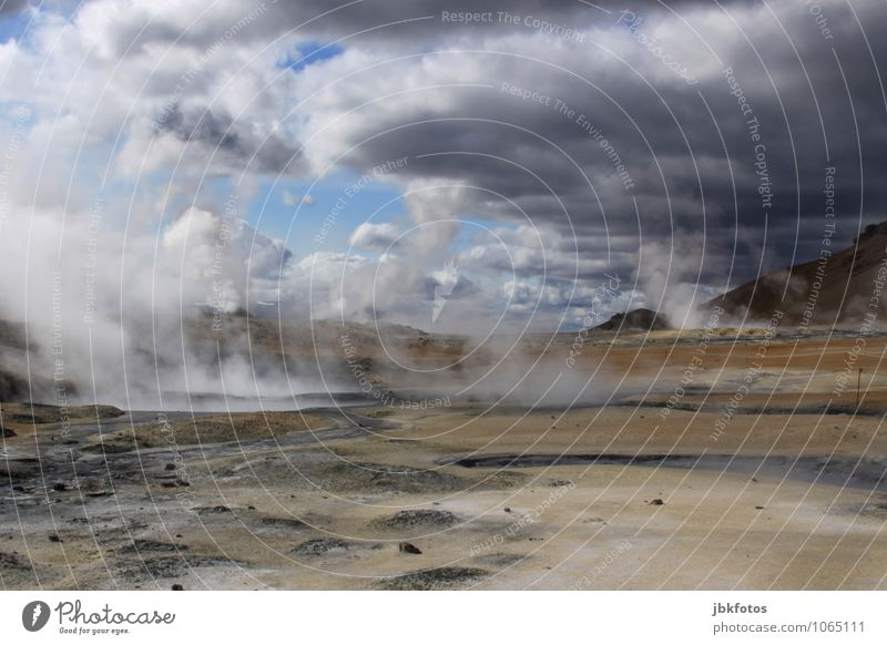 ICELAND / Námafjall [2] Environment Nature Landscape Elements Earth Sand Fire Clouds Summer Climate Beautiful weather Fog Warmth Rock Volcano Hot Namafjall