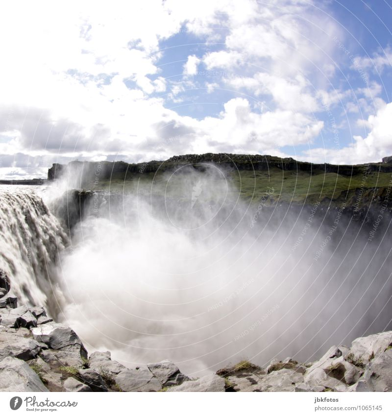 ICELAND / Dettifoss Environment Nature Landscape Elements Water Rock Mountain Coast Lakeside River bank Infinity Tall Godafoss Iceland Waterfall Massive
