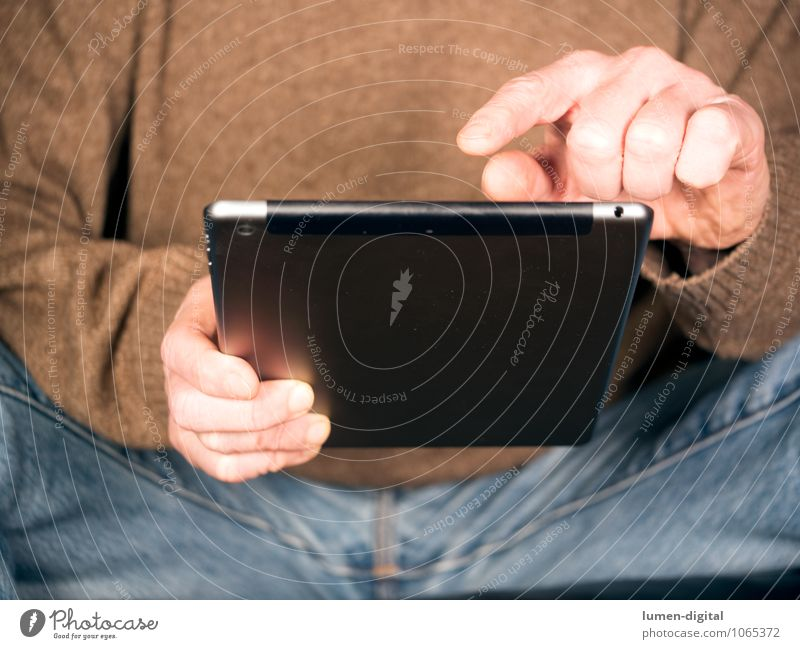 Hands with Tablet PDA Hardware Technology High-tech Telecommunications Masculine Man Adults Fingers Network hands jeans screen sitting tablet tap touch use Sit