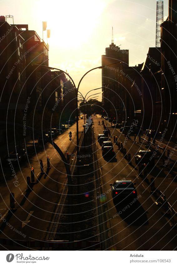 into the sun Sunset Back-light Town Romance Lantern Light Moody Traffic infrastructure Hamburg Evening Street Car Shadow