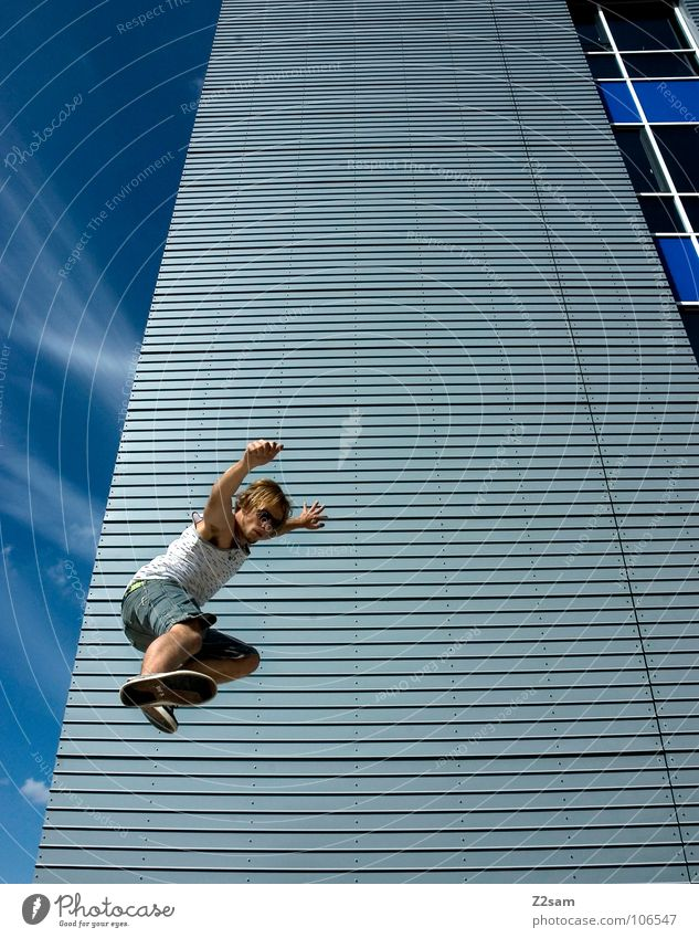 Jump I House (Residential Structure) High-rise Clouds Chinese martial art Karate Kick Action Easygoing Extreme sports Downward Disk Modern home Sky Blue Fight