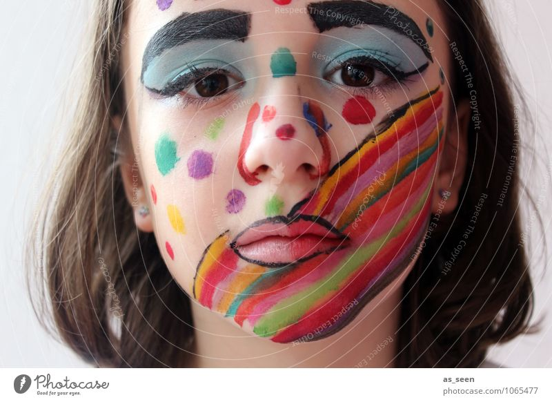 mask Feasts & Celebrations Carnival Girl Infancy Life Face Eyes 1 Human being 8 - 13 years Child Actor Culture Shows Party Rainbow Looking Esthetic Uniqueness