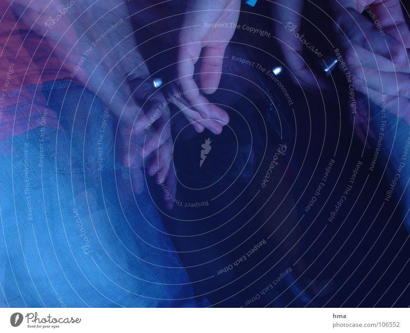 Human being Blue Hand Dark Party Dance Fingers Club Dance floor