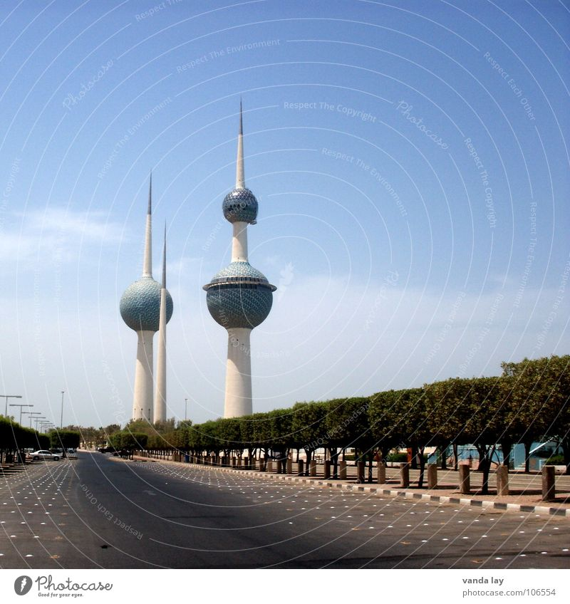 Kuwait Towers II Art Sheik Arabia Transmitting station Near and Middle East Round Clouds Summer Landmark Futurism 3 Parking lot Tree Sky Water tower Monument
