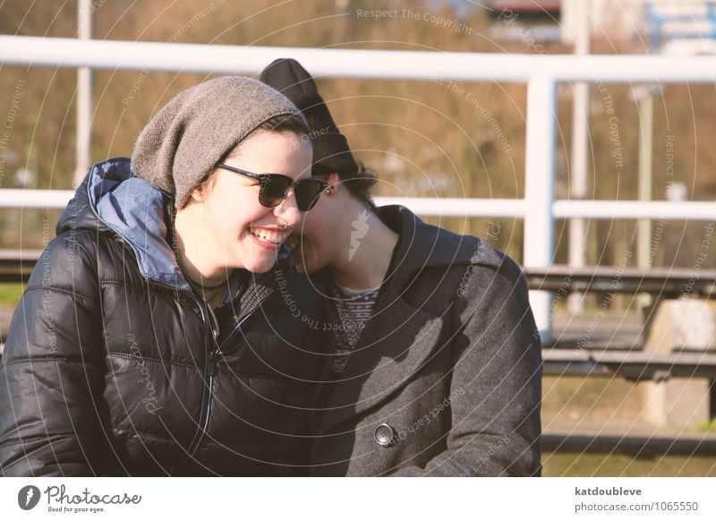 You are a mystery I will never try to solve Feminine Androgynous Homosexual Friendship Couple Partner 2 Human being Smiling Laughter Brash Friendliness