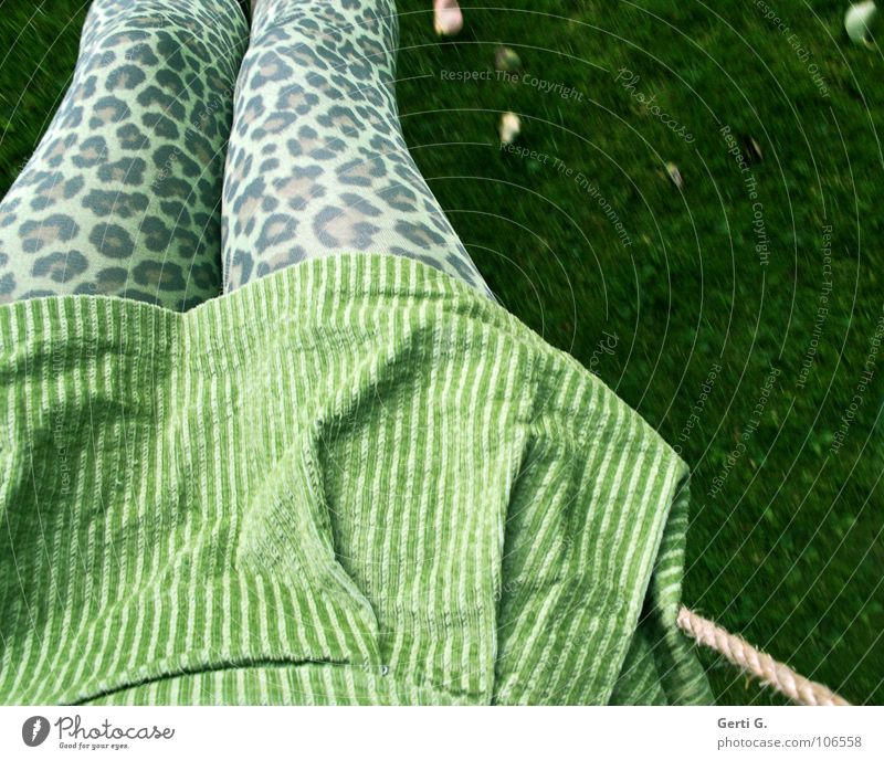Leo, look! Happiness Tights Pattern Mini skirt Green Bilious green Short Clothing Funky Crazy Multicoloured Swing Playing Meadow Autumn Leaf Colour tone String
