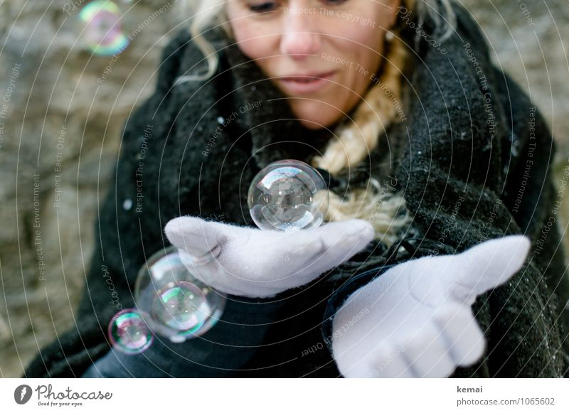 glass ball Joy Playing Soap bubble Winter Human being Feminine Woman Adults Life Hand 1 Cloth Blanket Cape Gloves Blonde Long-haired Braids To hold on