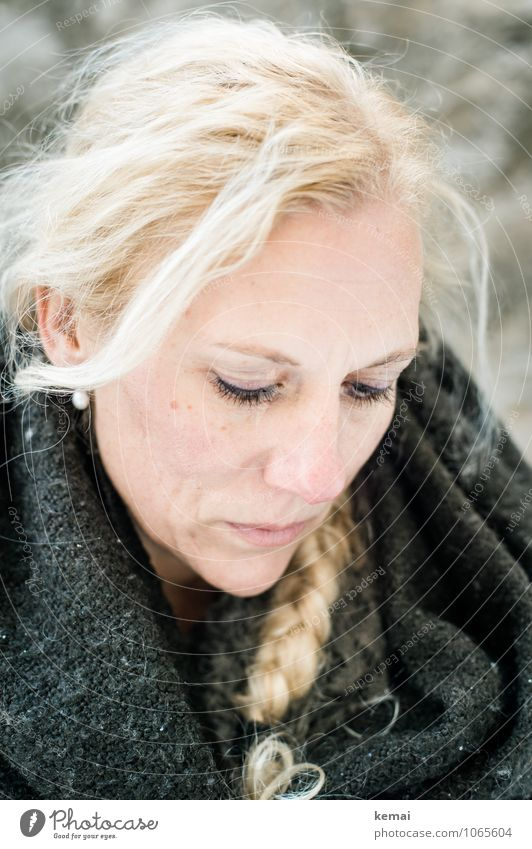 thoughts Face Winter Human being Feminine Woman Adults Life Head 1 30 - 45 years Blanket Hair and hairstyles Blonde Long-haired Braids Looking Bright Beautiful