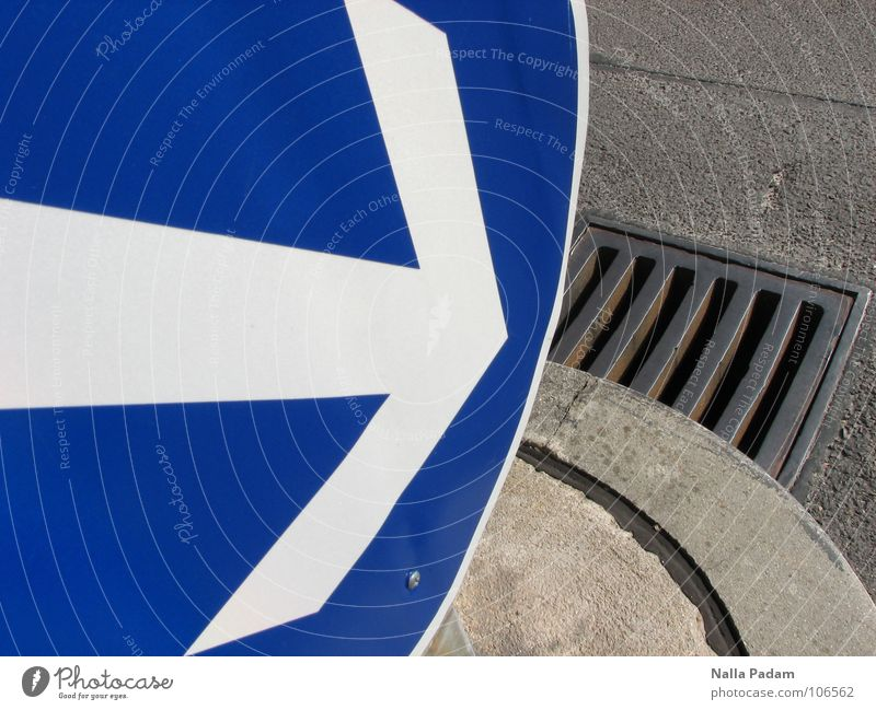White Blue Street Gray Concrete Round Target Arrow Direction Iron Gully Drainage Road sign Street sign