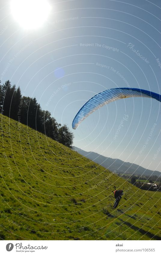 slope landing Paragliding Paraglider Play of colours Sky blue Romance Sunlight Sunbeam Sunset Departure Homey Emotions Puppy love Clearance for take-off