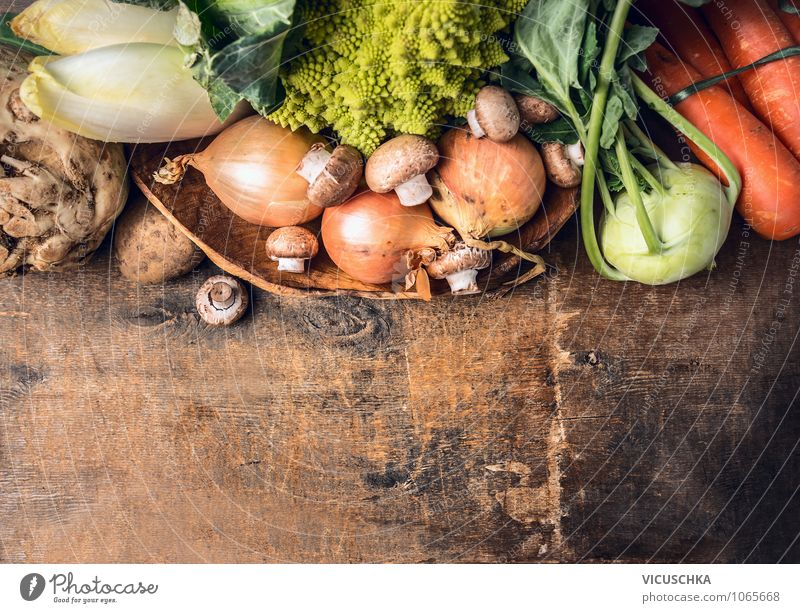 Fresh selection of vegetables on an old wooden table Food Vegetable Lettuce Salad Nutrition Organic produce Vegetarian diet Diet Bowl Style Design