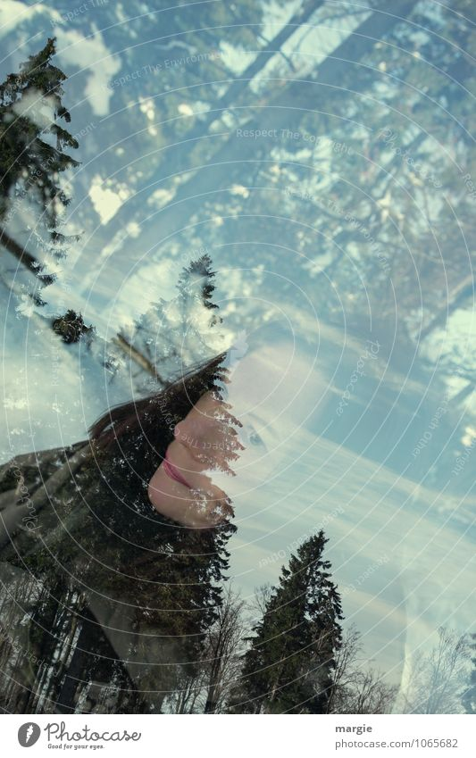 Portrait of a woman in the winter forest Lifestyle Joy Healthy Contentment Relaxation Calm Vacation & Travel Winter Snow Winter vacation Hiking Human being