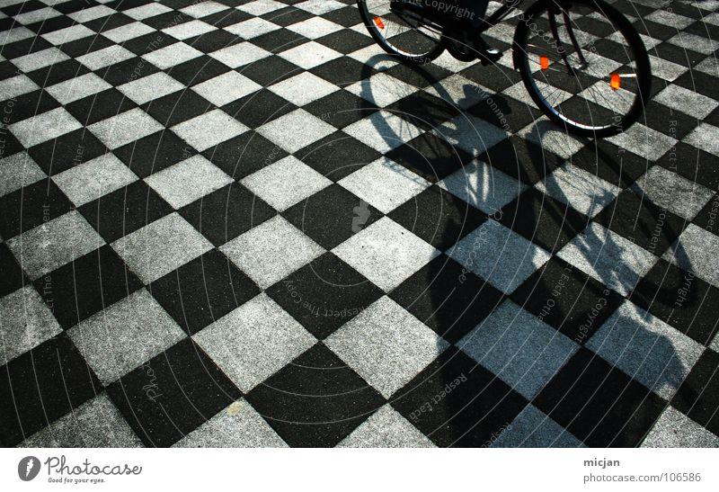 aerodynamics Dance floor Pattern Bicycle Driving Black White Checkered Stewart tartan Floor covering Hard Arrangement Alternating Chic Playing Board game Pixel