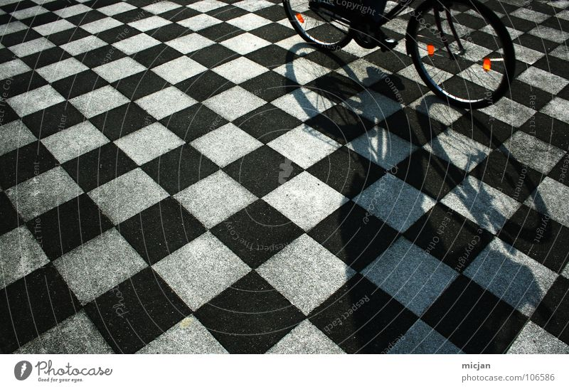 Human being White Black Street Playing Stone Bicycle Arrangement Places Perspective Ground Floor covering Driving Point Tile Traffic infrastructure