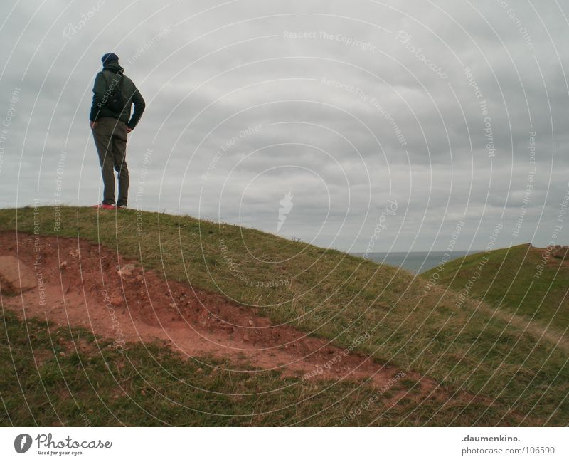 Sky Man Red Ocean Clouds Calm Grass Sand Think Horizon Earth Germany Power Island Hiking Force
