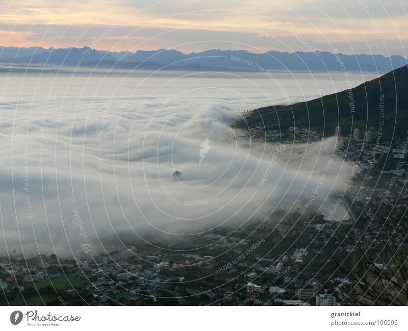 Sky Clouds Waves Go under South Africa Morning fog Cape Town Enclosed
