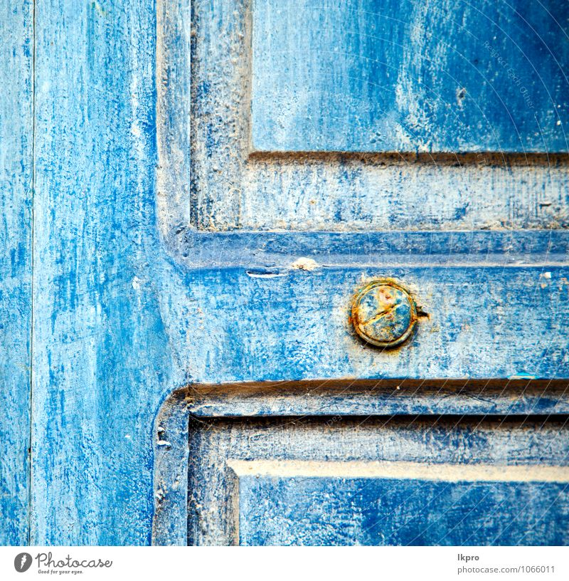 wood door and rusty nail Vacation & Travel City Old Blue House (Residential Structure) Yellow Wall (building) Architecture Wall (barrier) Wood Art Metal Facade Dirty Decoration Door