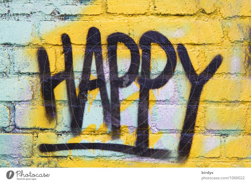 don't worry be ... Youth culture Subculture Brick wall Characters Graffiti Authentic Friendliness Positive Multicoloured Emotions Happy Joie de vivre (Vitality)
