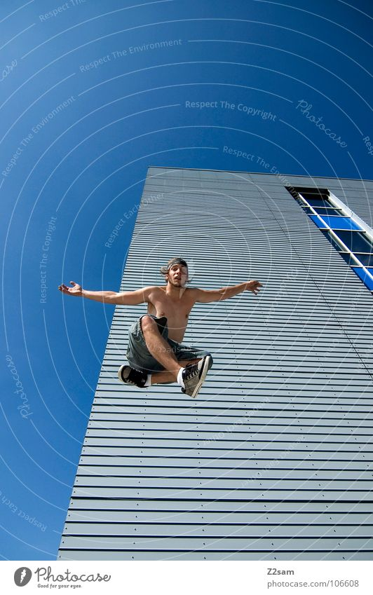 Human being Sky Blue Clouds House (Residential Structure) Architecture Jump Flying Modern High-rise Action Perspective Cool (slang) Fight Downward Easygoing
