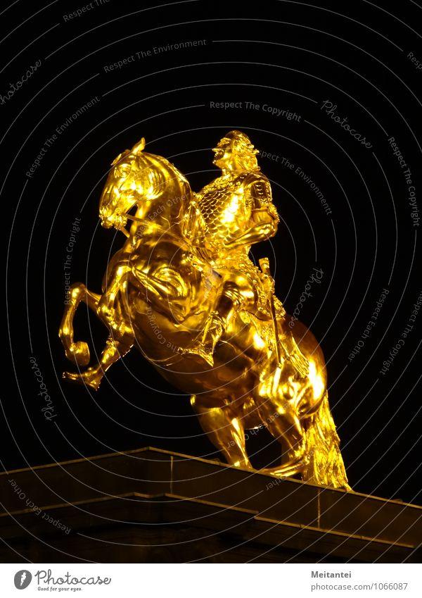 City Black Tourism Gold Europe Landmark Monument Capital city Downtown Tourist Attraction Dresden Sculpture Saxony Equestrian statue Golden Rider - monument