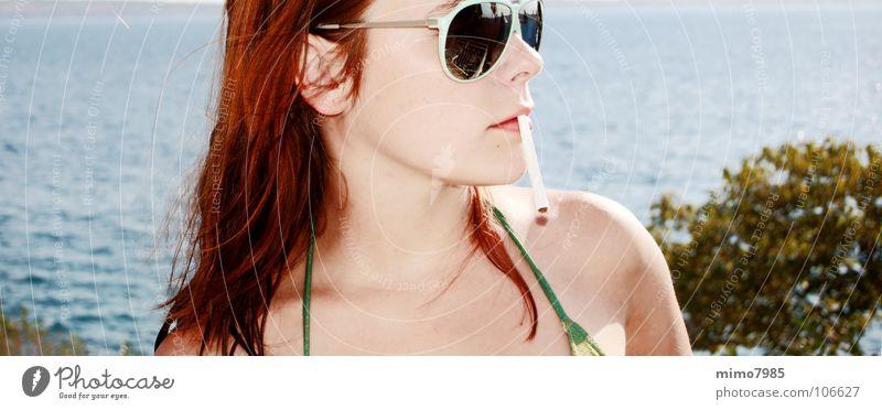 Woman Water Beautiful Ocean Summer Beach Vacation & Travel Lake Warmth Weather Smoking Physics Hot Cigarette Sunglasses