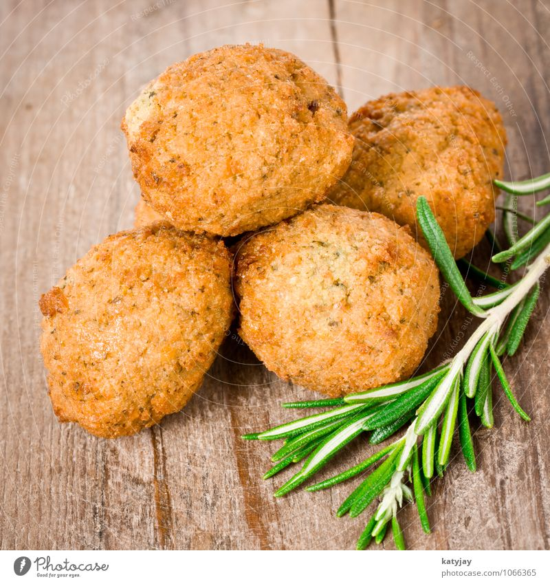 falafel Food Vegetable Herbs and spices Nutrition Lunch Dinner Vegetarian diet Eating Fresh Healthy balls Vegan diet Rosemary Wooden table Meat loaf Snack bar