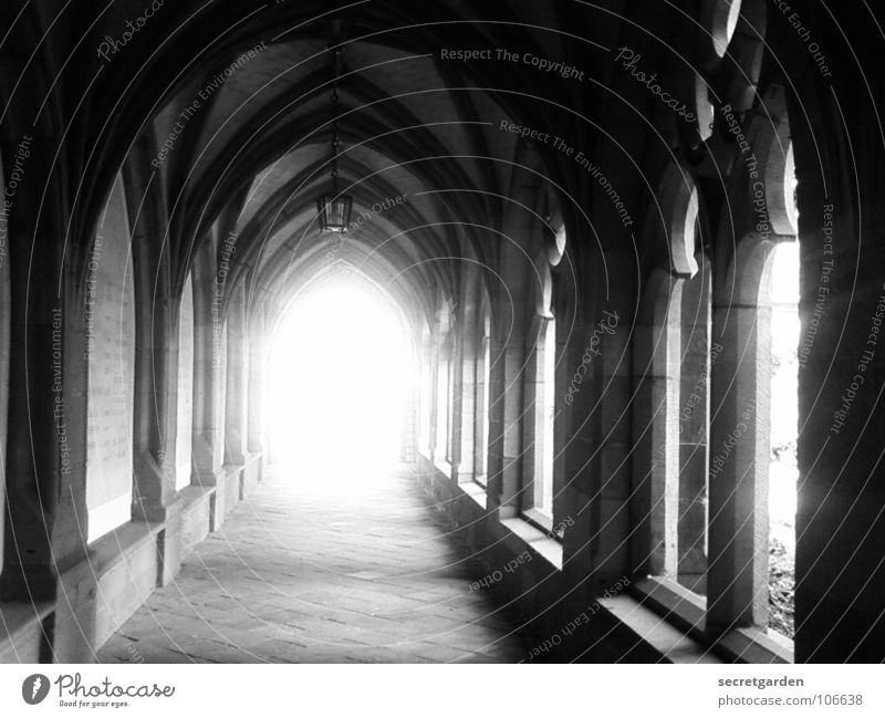 the light at the other end Christianity Old times Lantern Light Tunnel vision Way out Arcade Sunbeam Overexposure Withdraw Calm Room Deserted Culture Deities