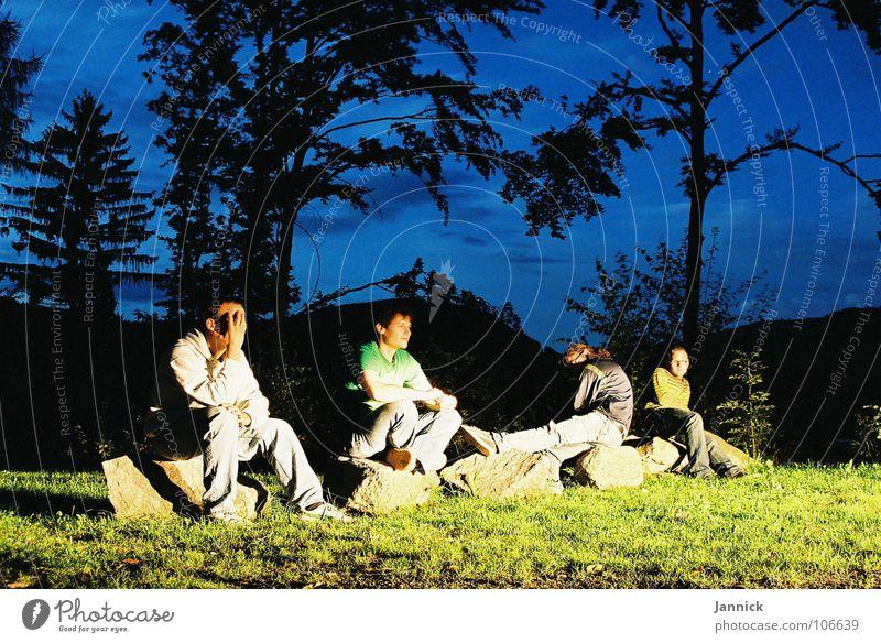 Sky Tree Green Blue Black Clouds Meadow Mountain Stone Friendship Light