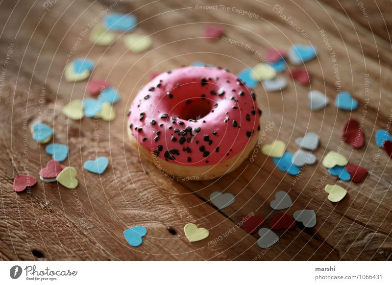 DO NUT EAT Food Dessert Candy Chocolate Nutrition Eating Diet Emotions Moody Appetite Gift Donut Heart Decoration Wooden table Delicious Calorie