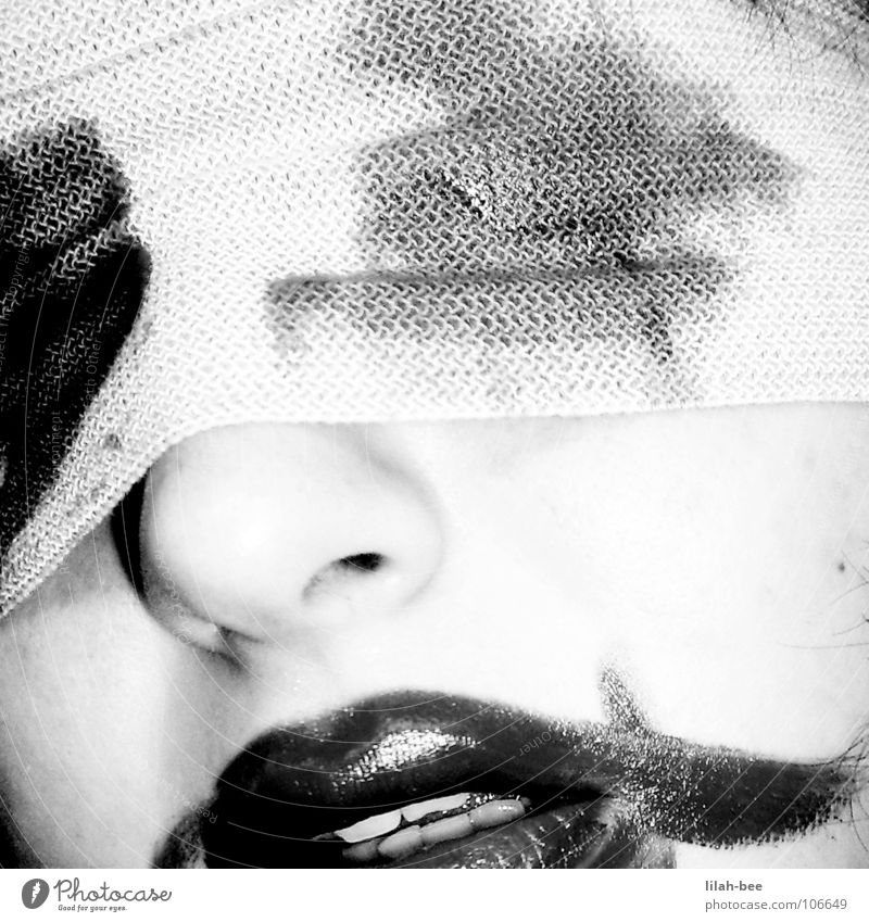 helpless Lips Lipstick Distress Blind Grief Blindfold Helpless Panic Fear Black & white photo Blood Pain Death binding Bandage Looking Needy