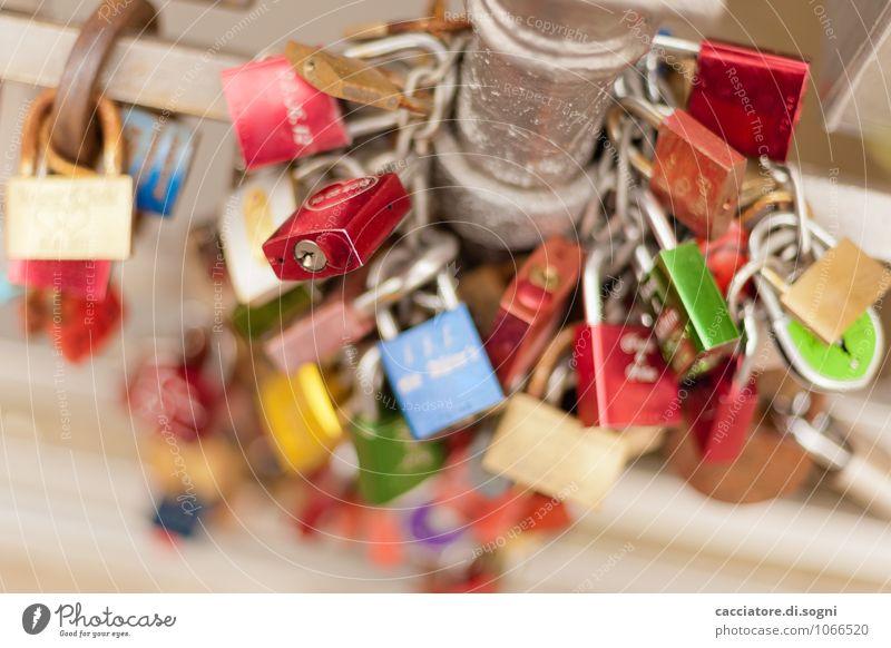 love nest Bridge railing Pole Padlock Metal Lock Love padlock Success Together Happy Hip & trendy Small Modern Multicoloured Red Silver Contentment