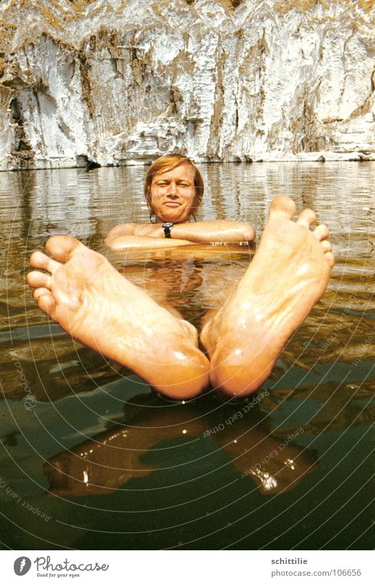 Footbath_!? Man Toes Vacation & Travel Reflection Summer Swimming & Bathing Rock Feet Head Water Freedom Float in the water Barefoot