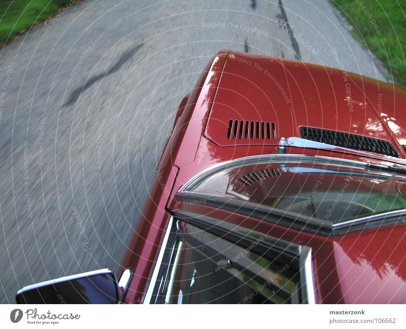 Red Street Freedom Car Power Speed Roof Leisure and hobbies Traffic infrastructure Vintage car Dinosaur Motorsports Car Hood